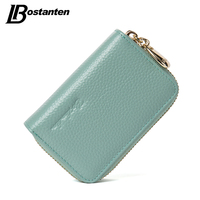 BOSTANTEN Mini Genuine Leather Wallet Bank Name Card Holder Double Zipper Credit Card Holders Women Men