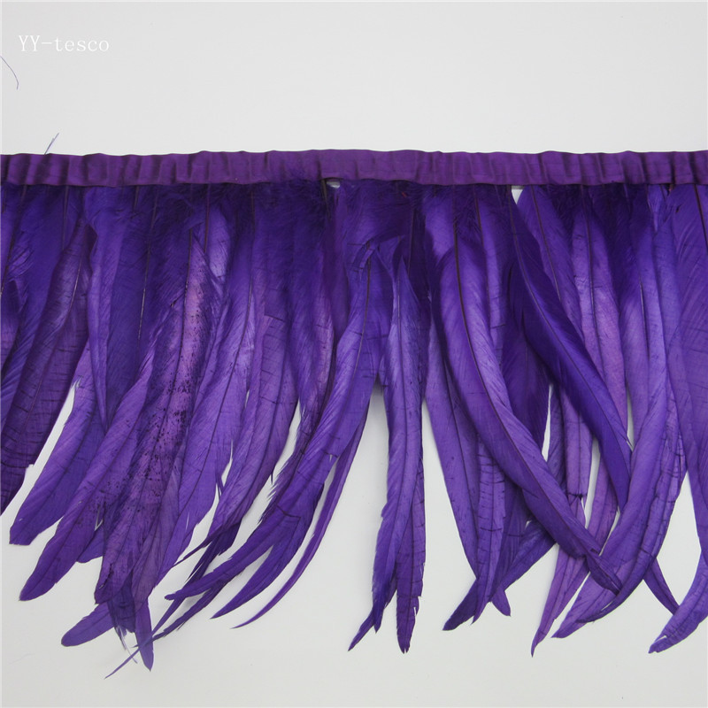 wholesale 10 yards long purple high quality natural rooster feather trims trimming with Satin Ribbon 30 35cm for women skirt