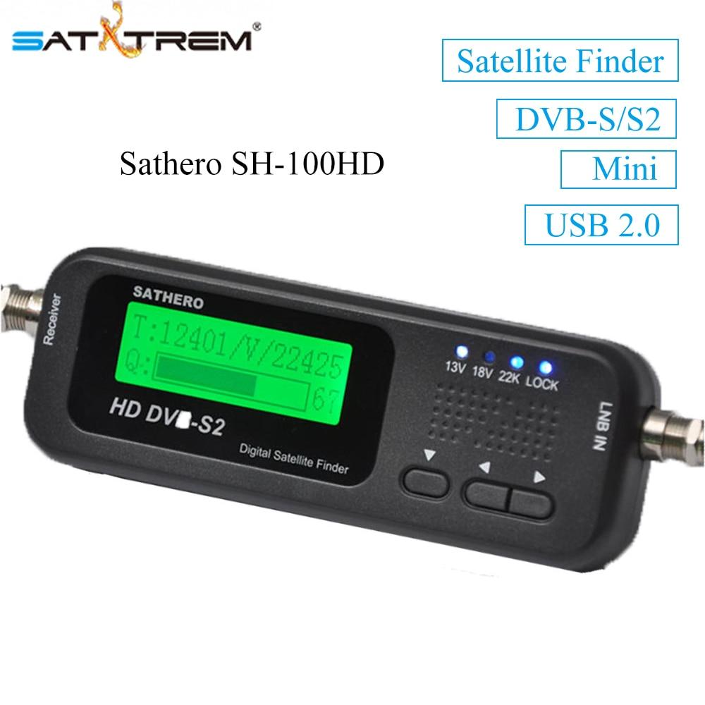 цена на 2PCS Sathero SH-100HD DVB-S/S2 Digital Pocket Satellite Finder HD Satellite Receiver Signal Meter USB 2.0 dvb-s2 SatFinder