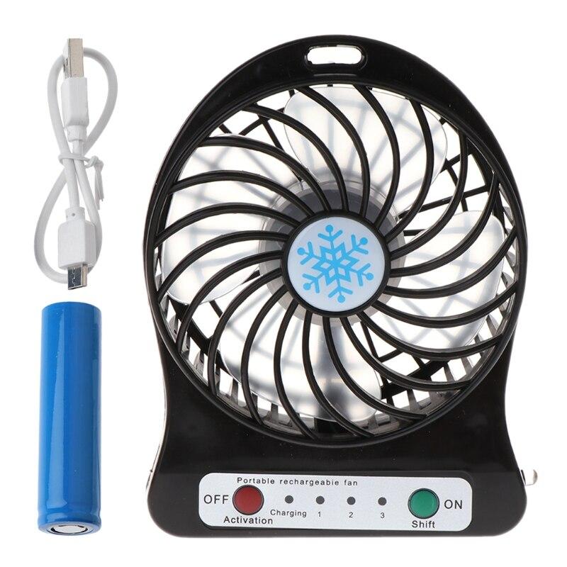 Portable Outdoor LED Light Fan Air Cooler Mini Desk USB Fan With 18650 Battery