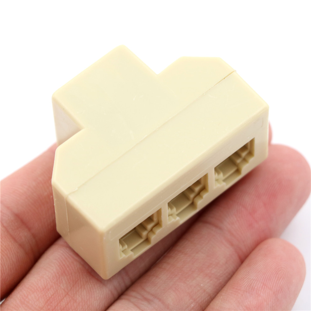 Dual Telephone Surface Wall Mount Phone Jacks Outlet 4C RJ11 Beige