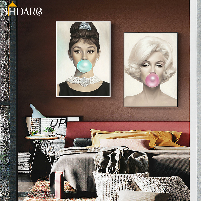 Creative Audrey Hepburn Marilyn Monroe Fashion Poster and Prints Canvas Art Painting Wall Picture for Living Room Home Decor