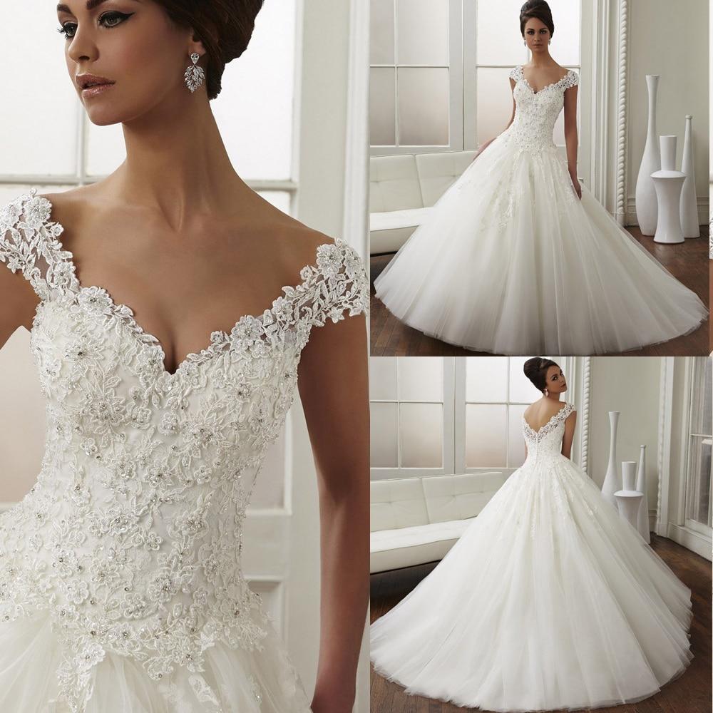 Vestidos De Noiva 2015 White Cap Sleeve Romantic Ball Gown Wedding ...