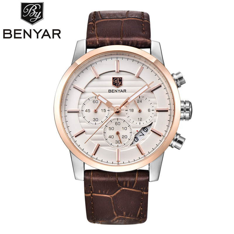 BENYAR Sport Mens Watches Top Brand Luxury Fashion Chronograph Men Watch Waterproof Leather Strap Male Clock relojes hombre 2018 mens watches top famous brand wwoor luxury male quartz watch leather strap waterproof men wristwatch clock reloj hombre