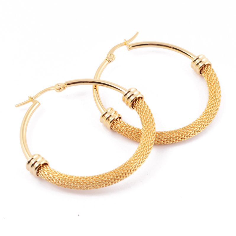 Aliexpress Fashion Half Mesh Hoop Earrings Silver Gold Stainless Steel 4 Sizes Cable Jewelry For Women From Reliable