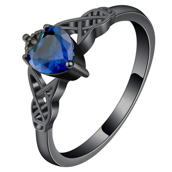 Bright Royal Blue Zircon Crown Heart Rings