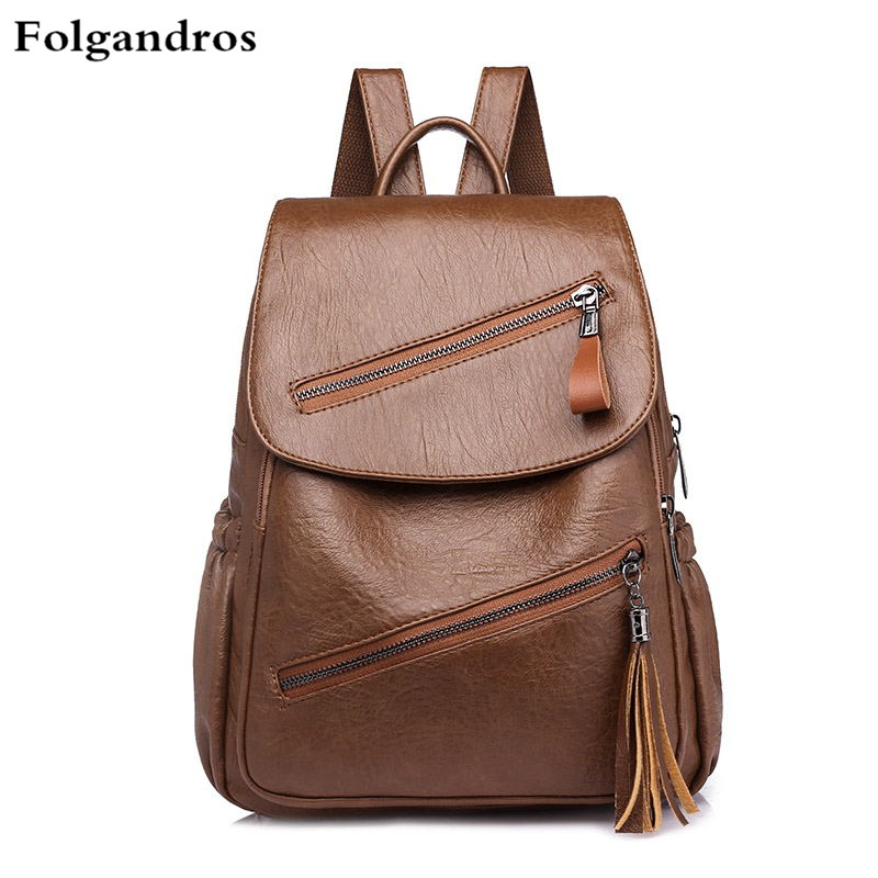 British Simple Fashion Women's Soft Leather Backpack High Quality Tassel Backpack for Teenage Girls Casual School Bags Sac A Dos