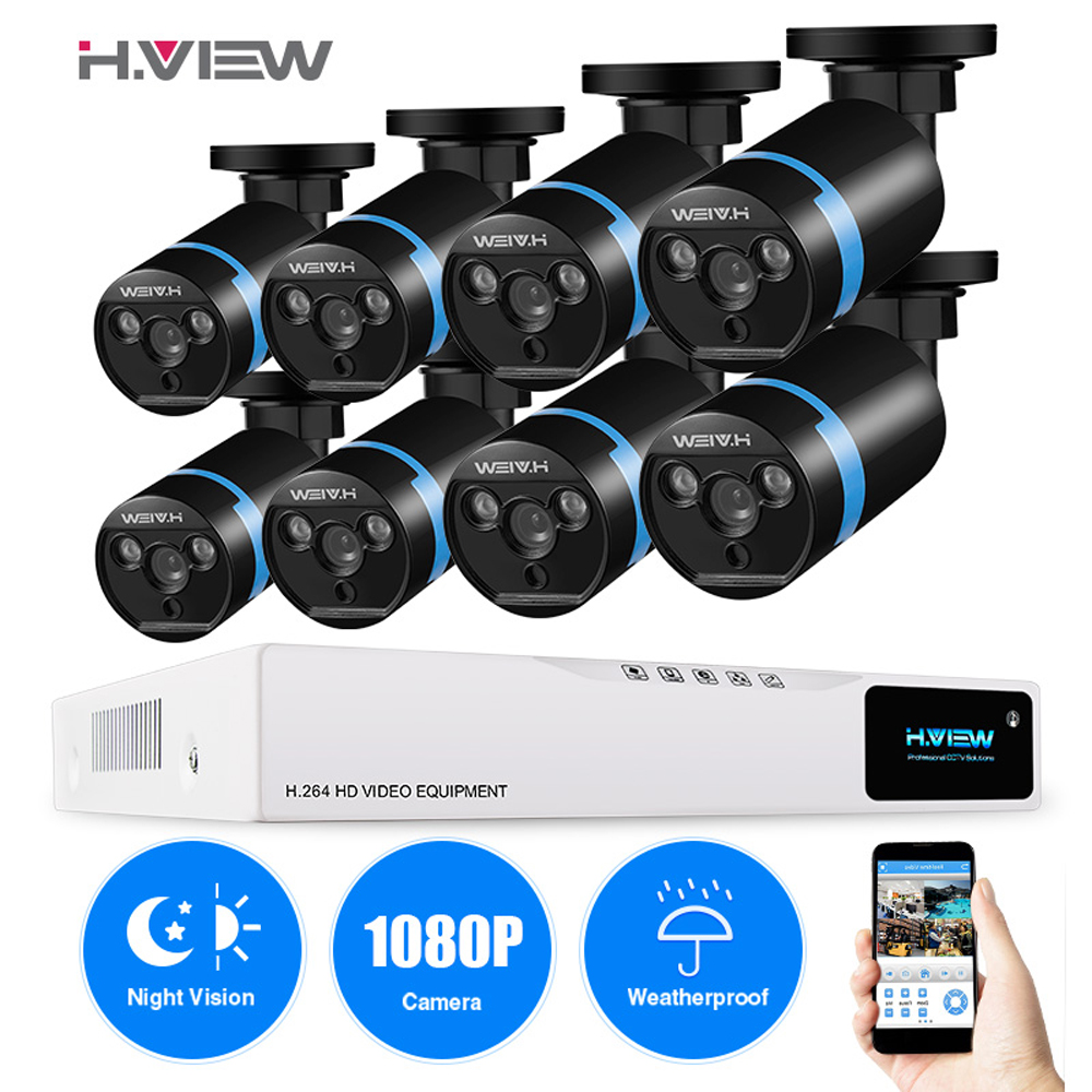H.VIEW 8ch CCTV Surveillance Kit 8 1080P Cameras Outdoor Surveillance Kit IR Security Camera Video Surveillance System DVR Kits