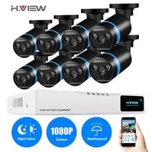 H.VIEW 8ch CCTV Surveillance Kit 8 1080P Cameras Outdoor Surveillance Kit IR Security Camera Video Surveillance System DVR Kits