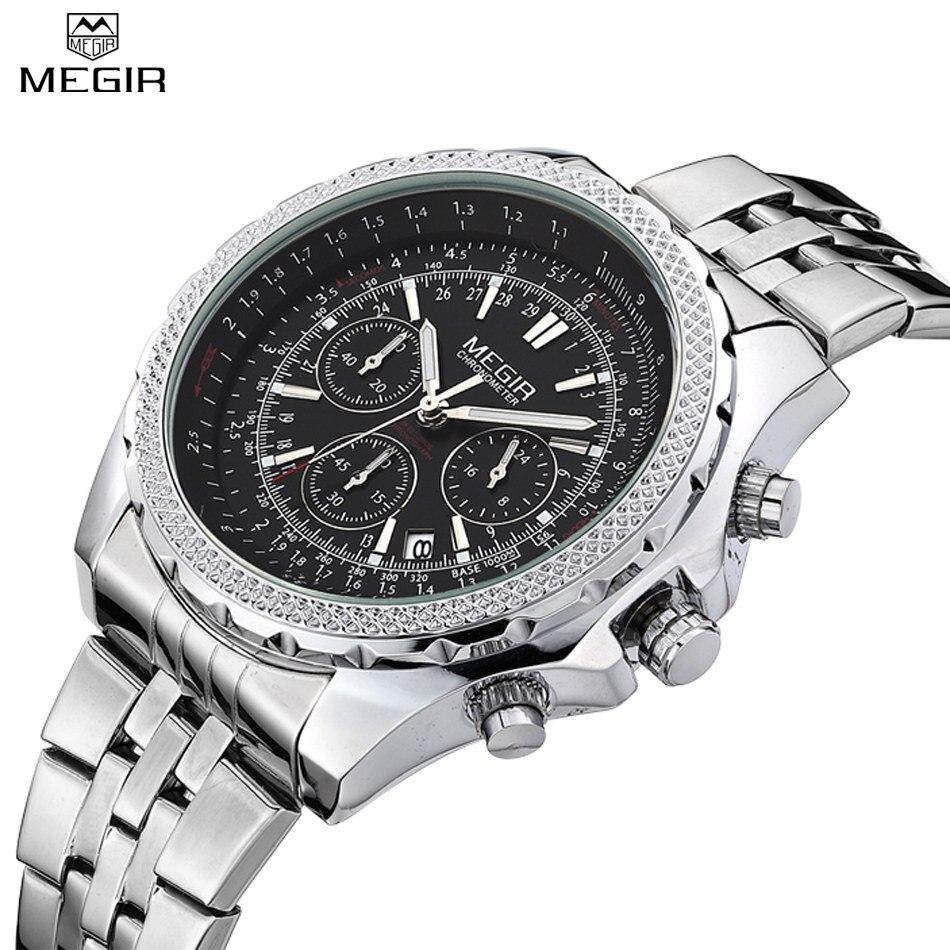 MEGIR Watches Men Fashion Casual Luxury Full Steel Watch Dress Watch Automatic Date Chronograph Quartz Watch