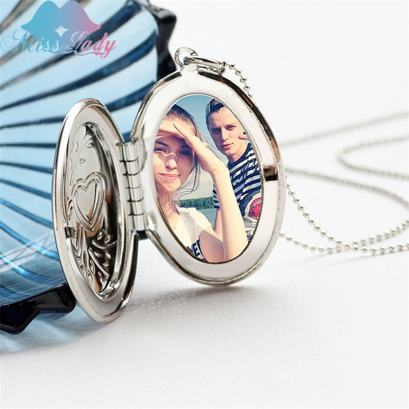 Creative short section oval double heart pocket watch put photo open close fashion Pendant love Necklace for women Jewelry A1013 locket