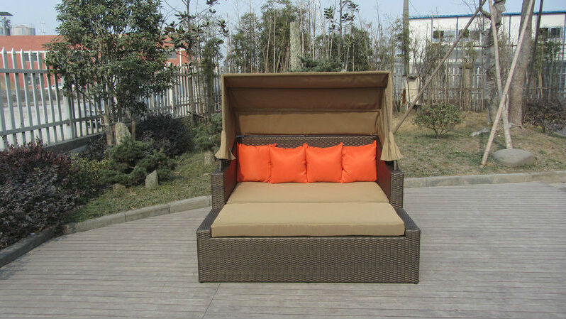 Square Resin Wicker Lounge Bed , Balcony / Garden Cane Daybed transport by sea intex ultra daybed lounge