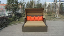 Square Resin Wicker Lounge Bed , Balcony / Garden Cane Daybed transport by sea