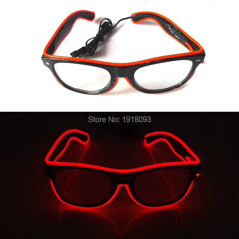 2017 Cheap Wholesale 50pcs EL Wire Glowing Glasses 10 Color Choice LED neon light with DC-3V Steady on Inverter for Party Decor new arrival colorful neon led bulbs melbourne shuffle dance costume night lamp el wire bright ghost step suit for concert party