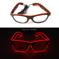 2017 Cheap Wholesale 50pcs EL Wire Glowing Glasses 10 Color Choice LED neon light with DC 3V Steady on Inverter for Party Decor