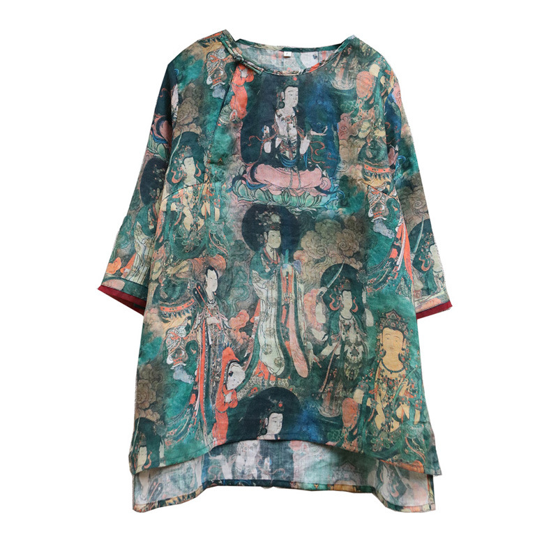 Vintage Buddhist Character Print Front Short Back Long Pure Ramie Linen Shirt Elegant Lady Summer Thin