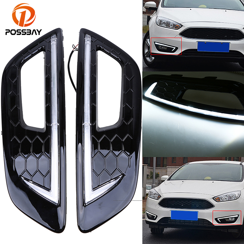 POSSBAY Front Bumper Lower Fog Light Cover With White LED DRL Daytime Running Light for Ford Focus S (DYB) 2015-Present Facelift possbay waterproof turn signal light 12v led car drl daytime running light with fog light cover for ford focus 2015 2016