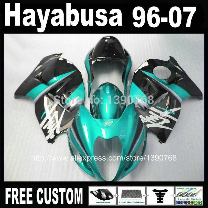 High Quality ABS  for SUZUKI Hayabusa fairing kit GSXR1300 1996-2007 green black fairings set GSX1300R 96-07 FF32