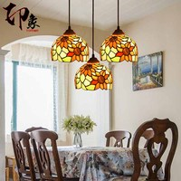Tiffany European pendant light sunflower iron stained glass Restaurant lamp glass