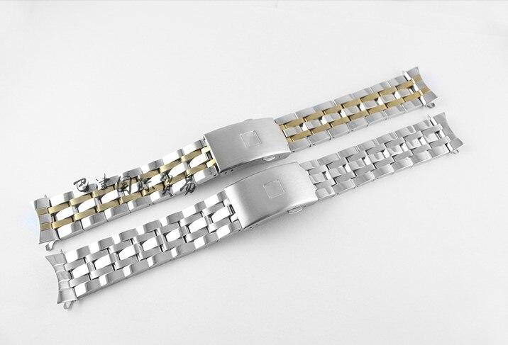 19mm/20mm Prc200 T17 T461 T014430a T014427a T014410a Armband Uhr Teile Männlichen Streifen Solide Edelstahl Armband Strap