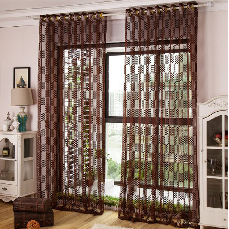 Window Curtain Living Room Embroidered Voile Curtains Summer Style Cortinas Para Sala De Estar Dark Brown Home Textile In From Garden On