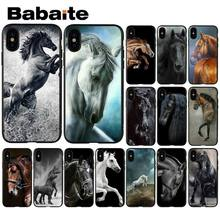 Babaite cavalos Running Preto De Luxo TPU Silicone Suave Tampa Do Telefone para o iPhone Da Apple 8 7 6 6 S Plus X XS MAX 5 5S SE XR Tampa(China)