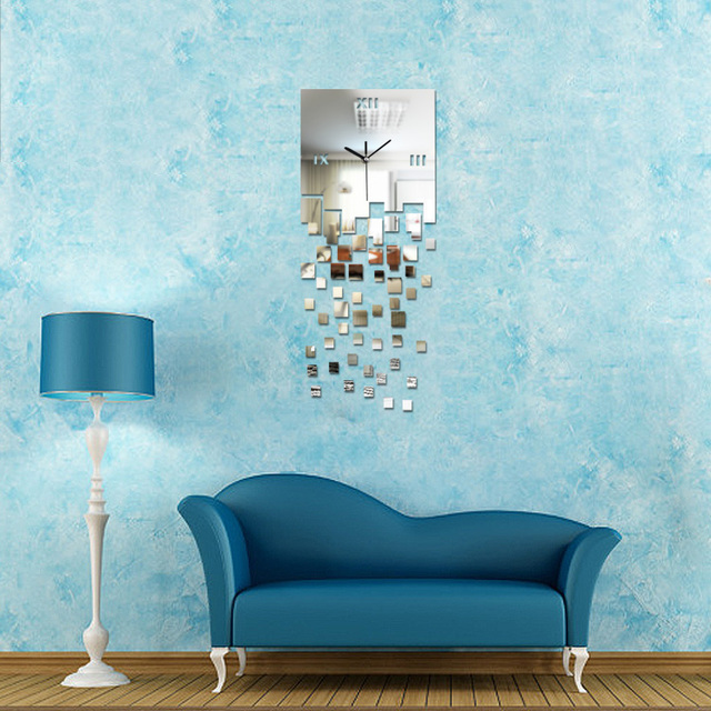Home Decoration! 3d modern wall art acrylic quartz clock safe DIY Large Wall Clocks Modern decorative wall clocks free shipping