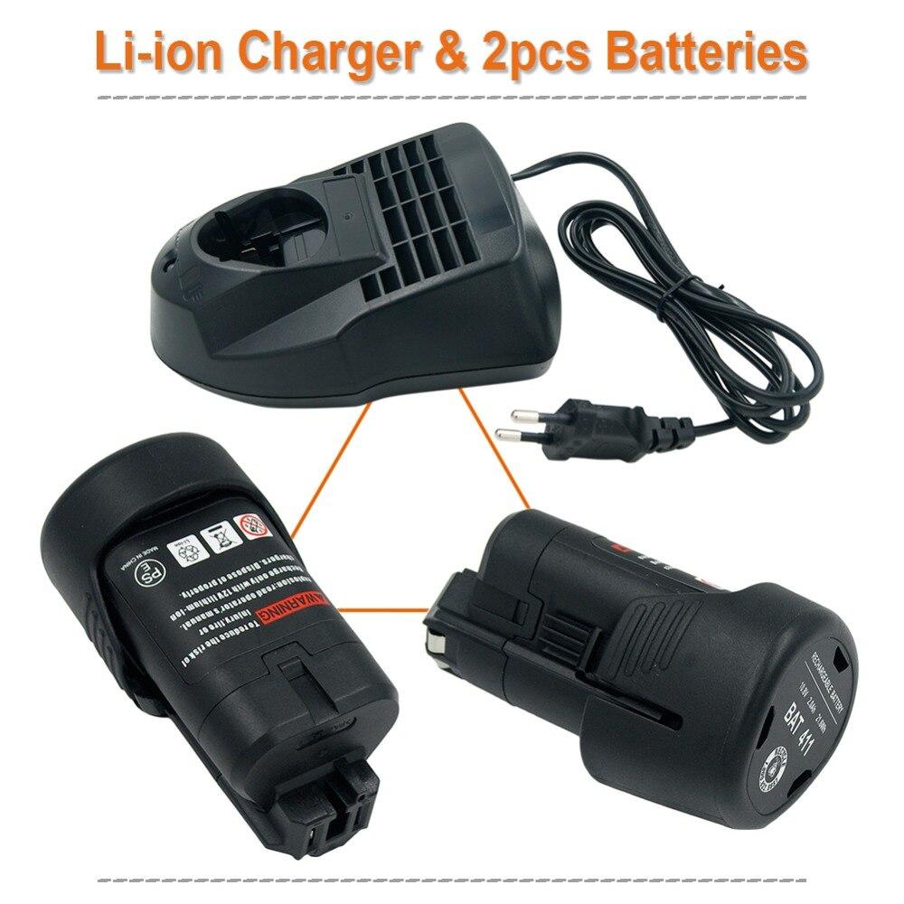 2 pièces 10.8 V 2000 mAh Li-ion Rechargeable outils électriques batterie pour Bosch BAT411 BAT412A BAT413A + AL1115CV Charge EU prise pour Bosch