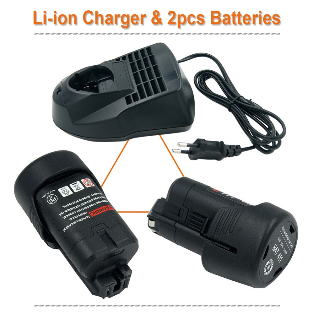 2PCS 10.8V 2000mAh Li-ion Rechargeable Power Tools Battery For Bosch BAT411 BAT412A BAT413A + AL1115CV Charge EU Plug for Bosch2PCS 10.8V 2000mAh Li-ion Rechargeable Power Tools Battery For Bosch BAT411 BAT412A BAT413A + AL1115CV Charge EU Plug for Bosch