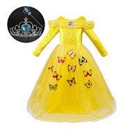 Nouveau Automne Enfants Robes pour les Filles Manches Longues Jaune Bleu Rose Chaud Fantaisie Fille Cosplay Costume Halloween Party Vêtements Enfants
