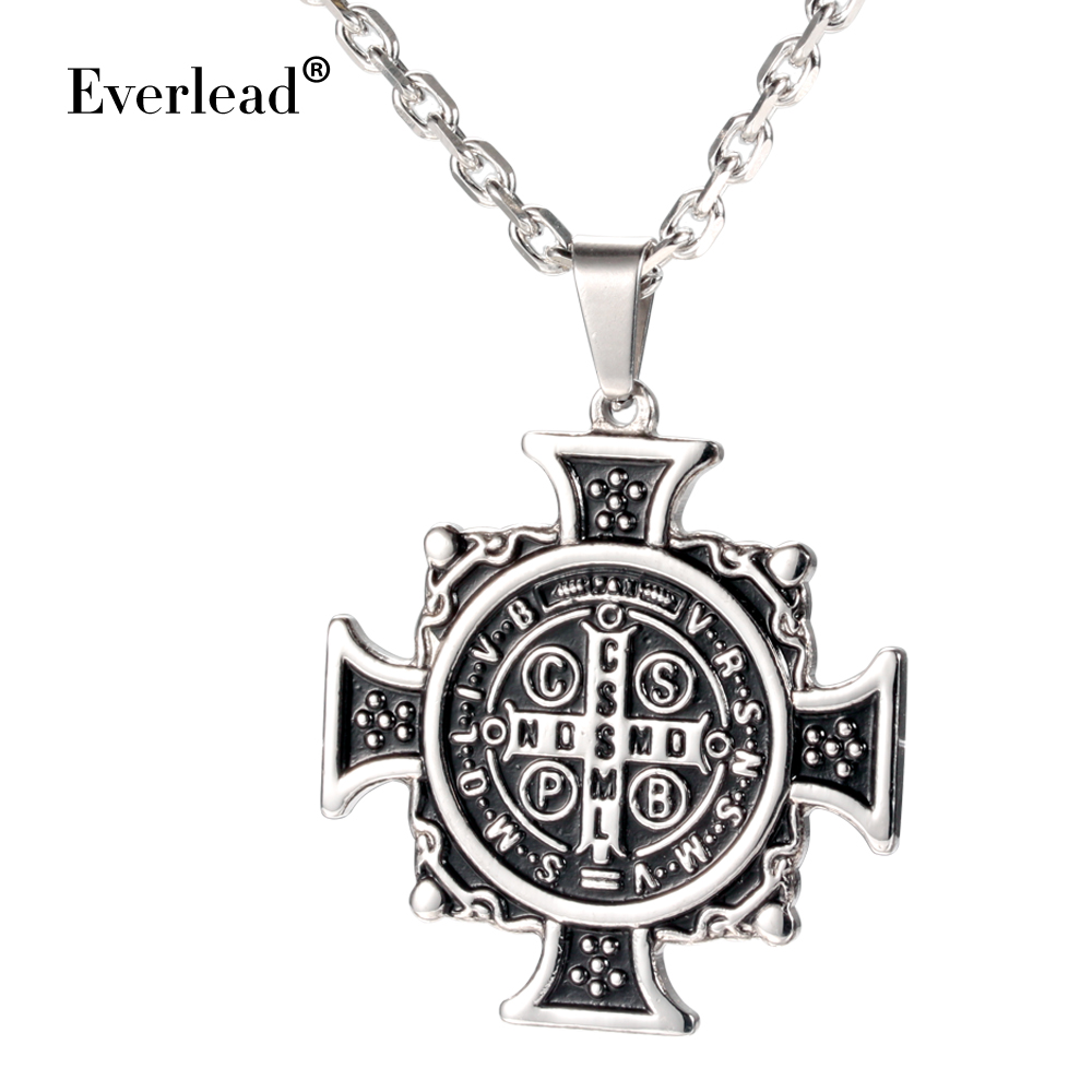 Men's Stainless Steel pendants Catholic Religious Patron Saint St. Benedict Holy Medal Pendant Necklace with Chain 60CM and box