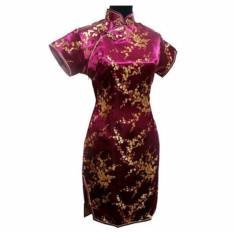 Burgundy Traditional Chinese Dress Mujer Vestido Womens Satin Mini Cheongsam Qipao Plus Size S M L XL XXL XXXL 4XL 5XL 6XL J4037
