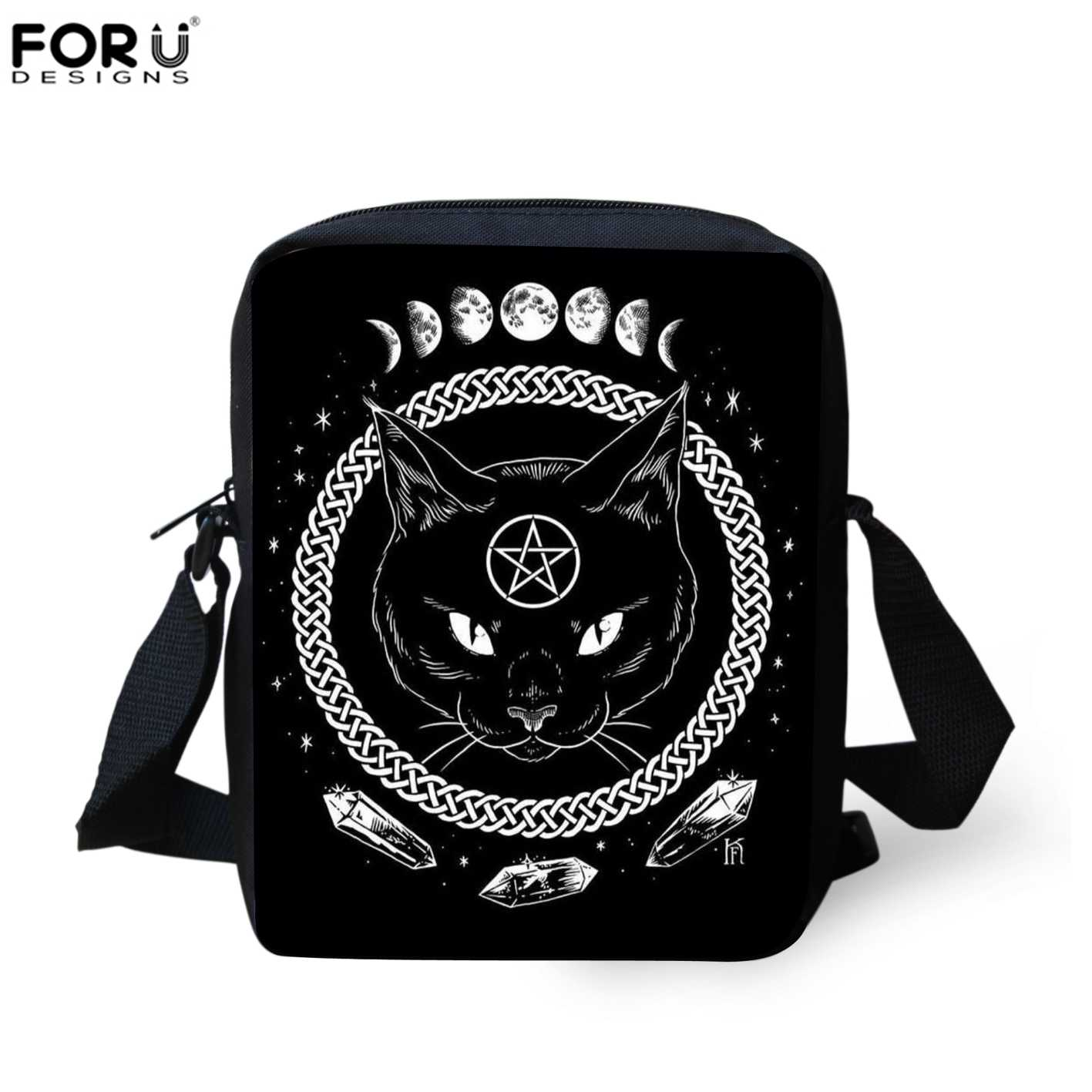 9a6475a7cf Detail Feedback Questions about FORUDESIGNS Gothic Moon Phase Witchcraft Cat  Crossbody Bag Women Men Travel Messenger Bags Pouch Coin Phone Purse ...