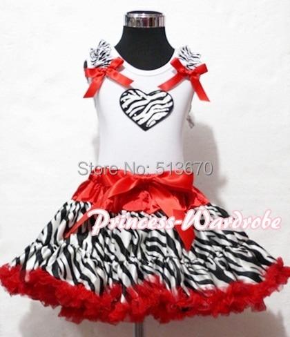 Valentine White Pettitop Zebra Ruffles Heart Red Zebra FULL POSH Pettiskirt 1-8Y MAPSA0240 halloween rhinestone cat black pettitop girl green zebra pettiskirt outfit 1 8y mamg1226