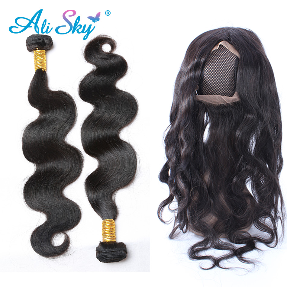 Ali Sky Brazilian Body Wave 360 Lace Frontal With Bundle Remy Human Hair 3 Bundles Lace Frontal Closure Pre Plucked&baby Hair 3/4 Bundles With Closure Human Hair Weaves