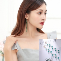 Hot Style Korean Retro Tassel Long Style Temperament Contracted Crystal Personality Earrings Female Birthday Gift