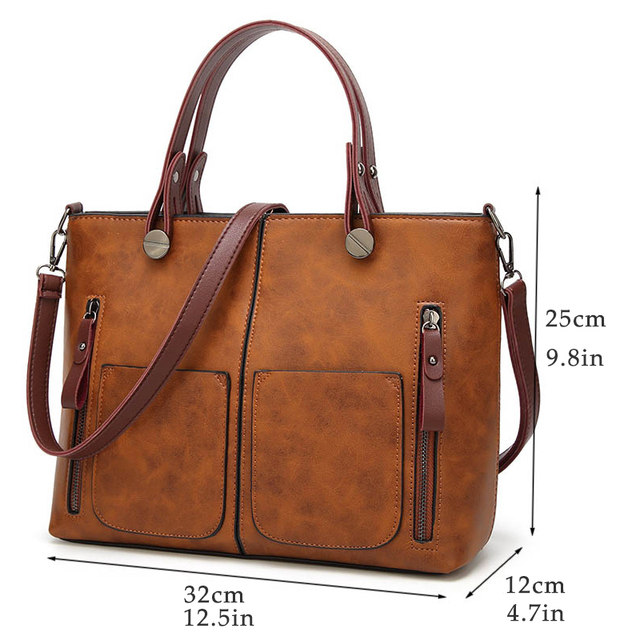 Women's Casual Soft Handbag with Zippers – 21JS
