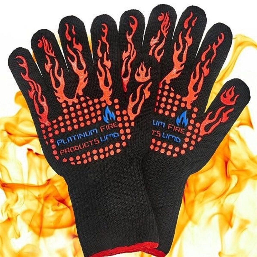 Hotsale Heat Resistant Oven Gloves, BBQ Gloves With No-Slip Silicone Grips, Oven Mitts, Fire proof Gloves цена