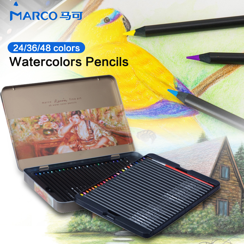 Marco 24/36/48Color Wood Color Pencil Set Profesional Aquarell Color Pencil Watercolor Pencil for Drawing Lapis De Art Supplies cute lovely color pencil drawing tutorial art book
