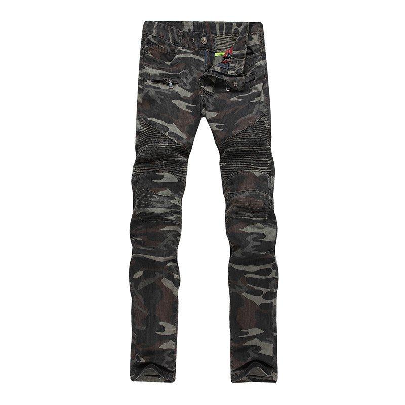 ФОТО #3207 2016 Camouflage skinny jeans Korean Slim Jogger jeans Denim biker jeans Straight Brand-clothing Hip hop Pantalones hombre