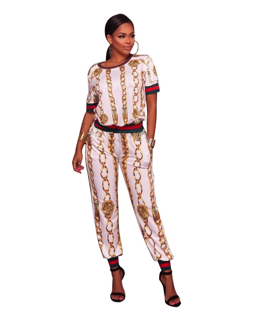 Plus Size S-3XL Women Jumpsuit Long Pants And Crop Top Two Piece Set Print Chain Sexy Romper 2 Pcs Elegant Ladies Playsuit