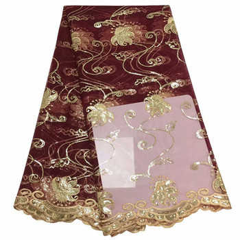 Golden wine Nigerian Cord Lace Fabric High Quality Net Mesh Lace Guipure Party Dress African Lace Fabric Purple Sequins