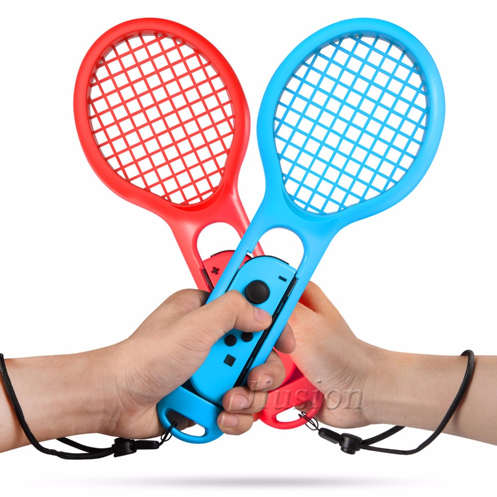 2Pack Tennis Racket for Nintendo Switch Joy-Con Controller Gamepad Accessories for Mario Tennis Game Aces Blue Red
