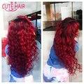 Dois Tons de Cor Ombre extensão do cabelo onda do corpo malaio ombre pacotes 8A qualidade Superior T1B/Red onda do corpo ombre tecer cabelo feixes