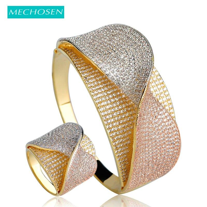 MECHOSEN Nouvelle Arrivée Arc Cravate Forme Large Bracelets Anneau Femmes Lady Bijoux De Mariage Ensembles 3 Tons Plaqué Cubique Zircone Bracelet anneau