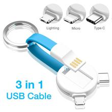 3 In 1 Mini Bear Key Chain USB Cable Micro USB Type C USB C For IPhone Xs X IPod Charger Data Sync Fast Charging Cable Cord цены
