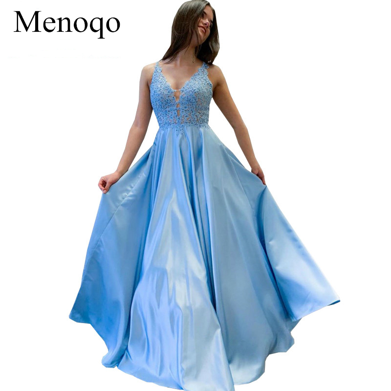 Vestido De Festa Longo Sky Blue   Prom     Dress   Long 2019 Satin Appliques Formal Party Gowns Robe De Soiree