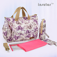 Insular Brand Floral Pattern Mommy Maternity Bag Waterproof Nylon Large Capacity Baby Care Nappy Mother Tote Nursing