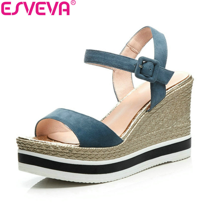 ESVEVA 2018 Women Sandals Casual High Heels Sandals Kid Suede PU Summer Shallow Wedges Heels Platform Shoes Women Size 34-39 phyanic 2017 gladiator sandals gold silver shoes woman summer platform wedges glitters creepers casual women shoes phy3323
