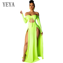 YEYA Women Sexy Hollow Out Dress Long Sleeve High Slit Bodycon Maxi 2019 Summer Off Shoulder Elegant Party Club Dresses